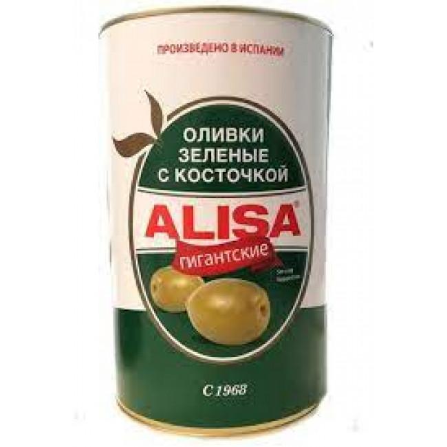 Оливки  зеленые гигантские Alisa  90/100 с косточкой ж/б вес.