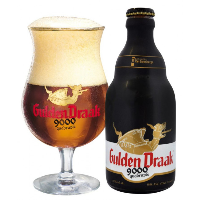"""Пиво Гульден Драк 9000 Квадрупель/ Gulden Draak 9000 Quadruple из набора """" Гульден Драк """"(2 бут-0,33+бокал)"""