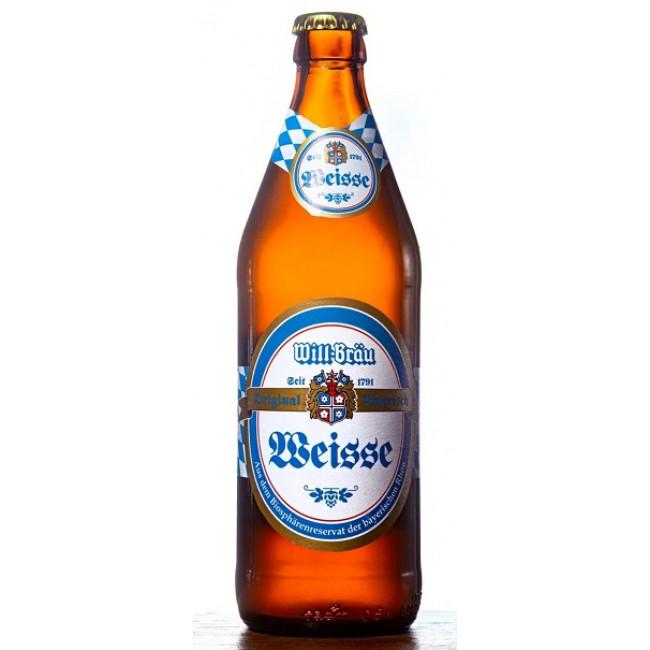 Пиво ВИЛЛ-БРАУ Хефе Вайзен светлое нефильтрованное пастеризованное