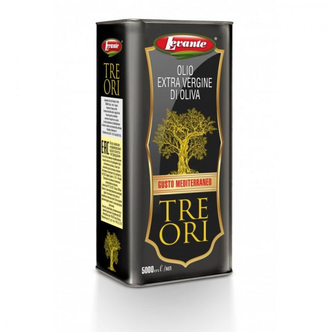 Масло оливковое нерафинированное Экстраверджине ж/б Levante 5л