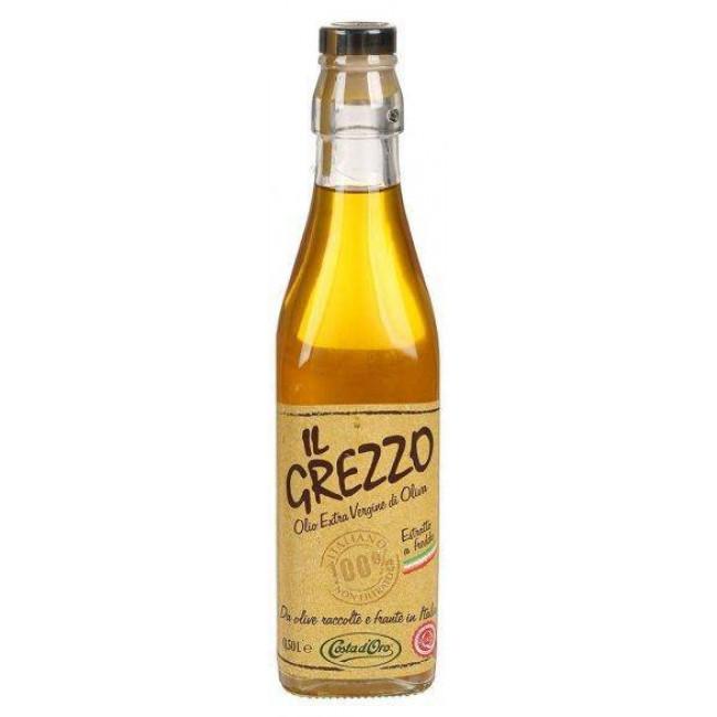 """Масло оливковое нерафнированное нефильтрованное  Экстраверджине """"Il Grezzo"""" ст/б, COSTA D`ORO 500 мл."""