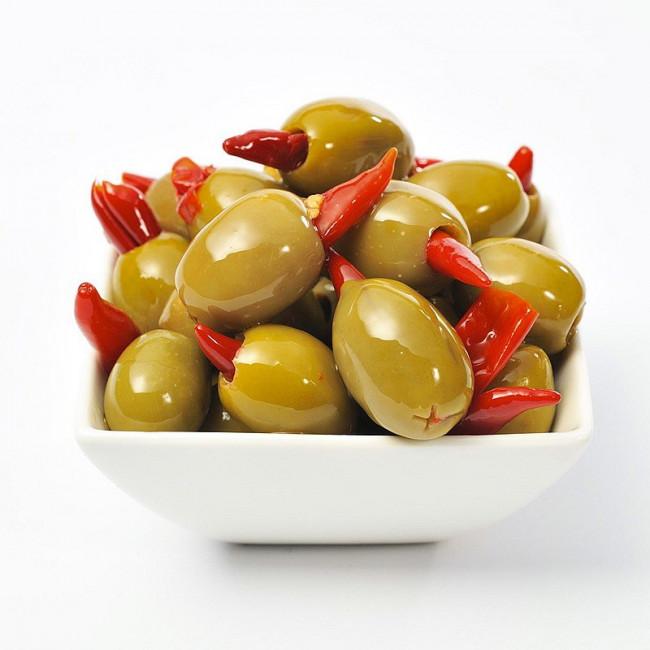 Оливки Зеленые фаршированные красным перцем пири-пири Deas SA, весовые