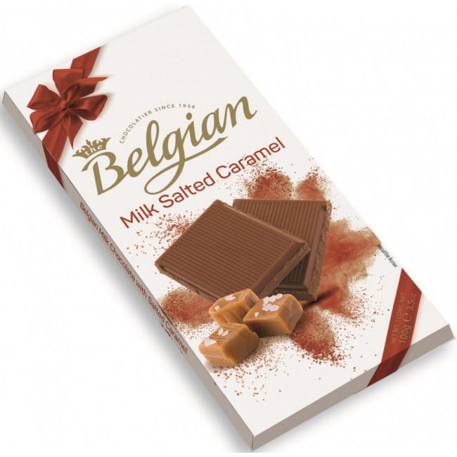 Молочный шоколад Belgian с кусочками солёной карамели, 100 гр