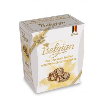 Трюфели Belgian из молочного шоколада в хлопьях из белого шоколада, 145 гр