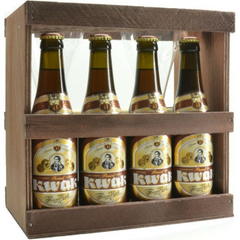 """Набор """"Pauwel Kwak"""" из 4 бутылок пива и 2 бокалов в деревянной коробке"""