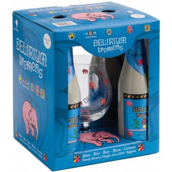 """Набор """"Delirium Tremens"""" 4 бутылки пива по 0,33 л + бокал в картонной коробке"""