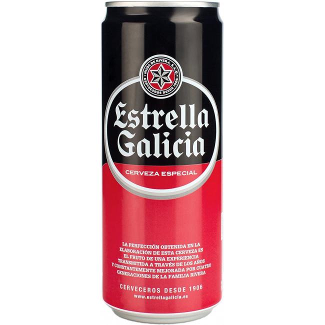 Пиво Estrella Galicia Светлое фильтрованное 5,5%, банка 0.5 л