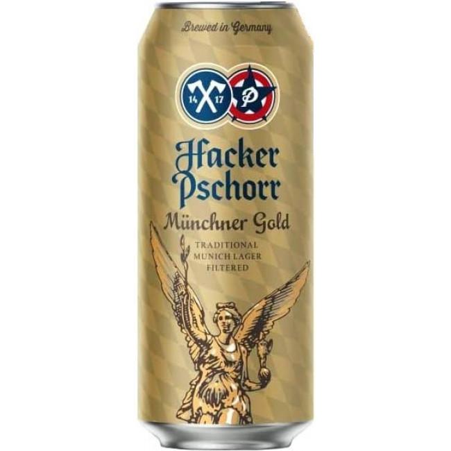 Пиво Hacker-Pschorr Munchner Gold Светлое фильтрованное алк. 5,5%, банка 0,5 л