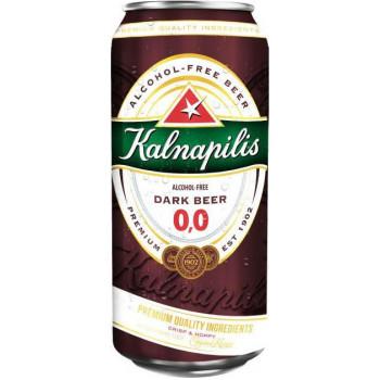 Пиво Kalnapilis Dark Alcohol-Free Безалкогольное тёмное, банка 0,5 л