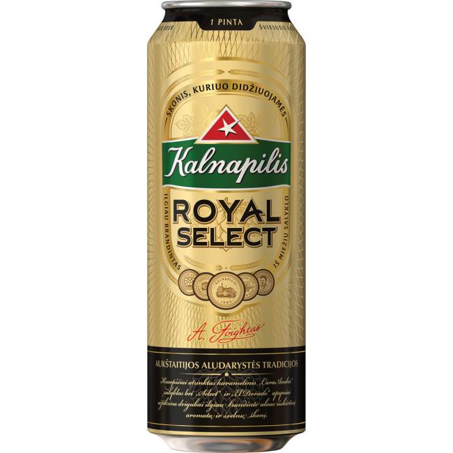 Пиво Kalnapilis Royal Select Светлое фильтрованное алк. 5,6%, банка 568 мл