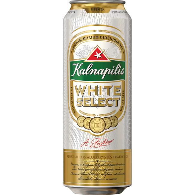 Пиво Kalnapilis White Select Светлое нефильтрованное алк. 5%, банка 568 мл