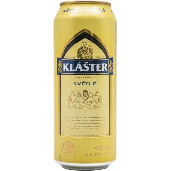 Пиво Klaster Svetle Светлое фильтрованное алк. 5%, банка 0.5 л