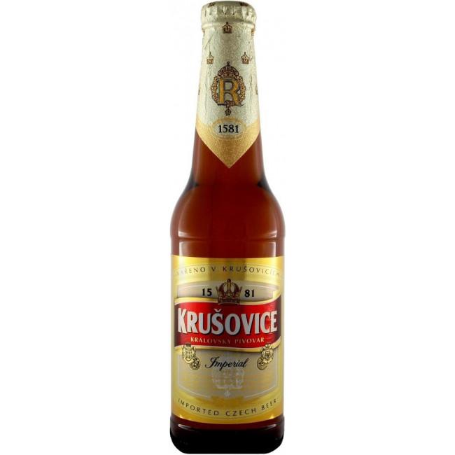 Пиво Krusovice Imperial Средне-янтарное фильтрованное 5%, 0.33 л