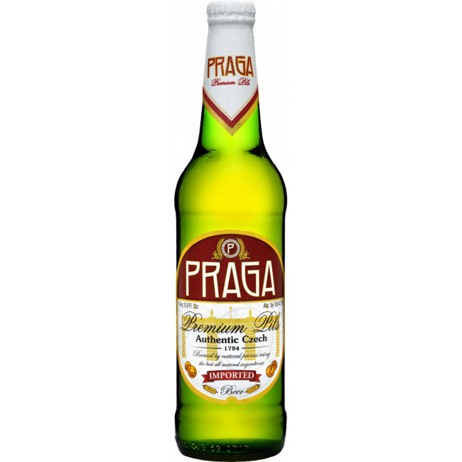 Пиво Praga Premium Pils Светлое фильтрованное 4,7%, 0.5 л