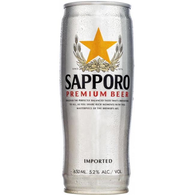 Пиво Sapporo Светлый рисовый лагер 5%, банка 0,65 л