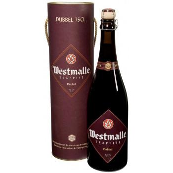 """Пиво Westmalle, """"Trappist Dubbel"""" тёмное нефильтрованное 7% в подарочной тубе, 0,75 л"""