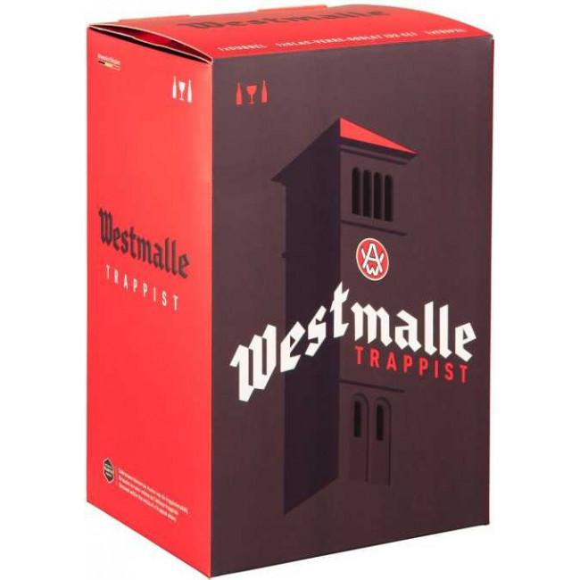 Подарочный набор Пиво Westmalle Trappist 6 бутылок 0,33 л + бокал в картонной упаковке