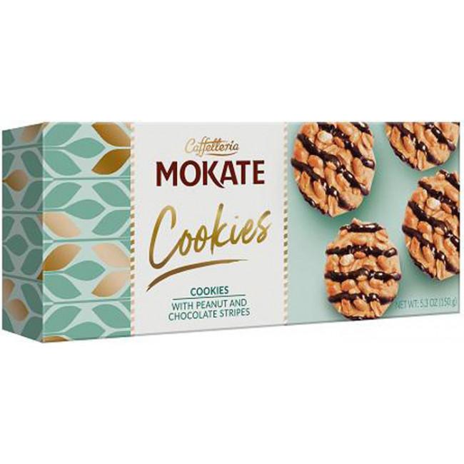 Печенье сдобное с арахисом и шок. глазурью  Мокате, 150г