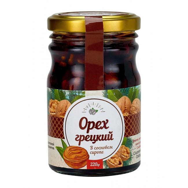 Грецкий орех в сиропе из сосновой шишки Солнечная Сибирь, 220 гр