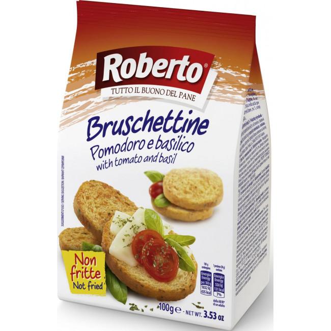 Хрустящие хлебцы Roberto Брускеттини со вкусом томата и базилика, 100 гр