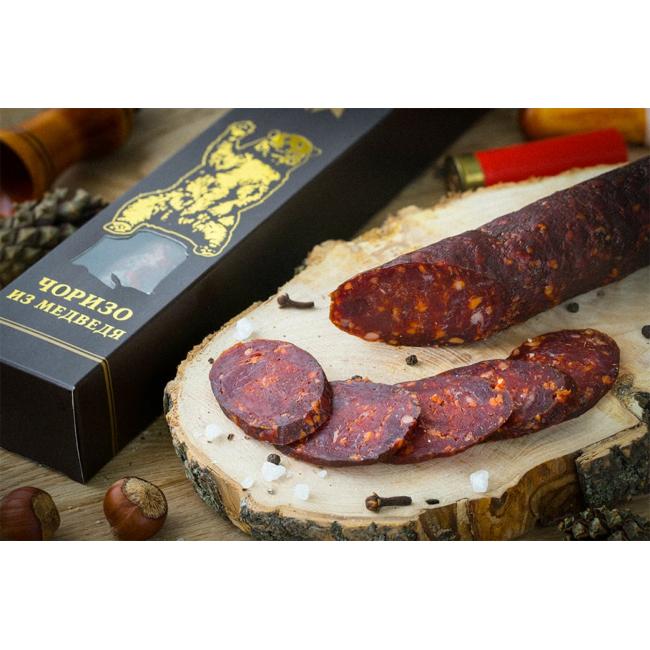 Колбаса  чоризо из мяса Медведя в подарочной упаковке,  Деликатес дичь  175 гр.