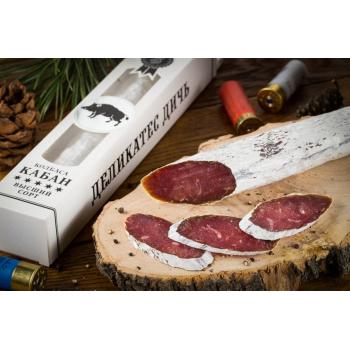 Колбаса из мяса Кабана в имитации плесени в подарочной упаковке,   Деликатес дичь 210 гр