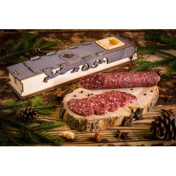 Колбаса  из мяса Лося с грецким орехом в подарочной упаковке,   Деликатес дичь 230 гр