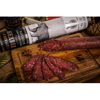 Колбаса Деликатес дичь из мяса Медведя с коньяком в подарочной упаковке, 200 гр