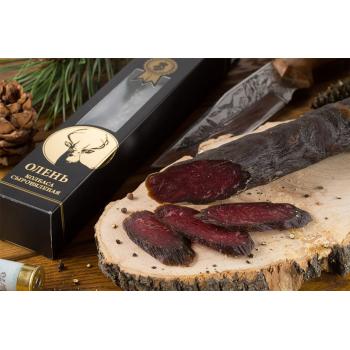 Колбаса Деликатес дичь из мяса Оленя в подарочной упаковке, 200 гр