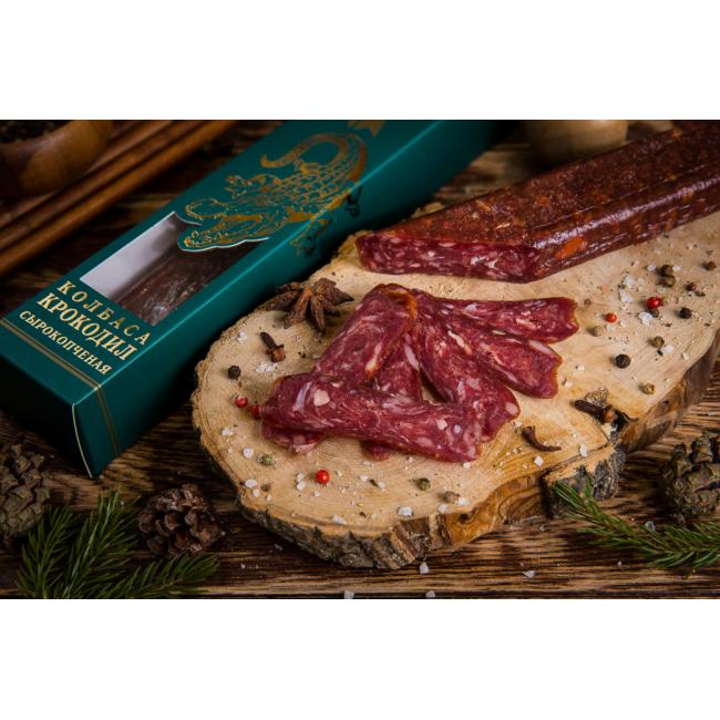 Колбаса Деликатес дичь сырокопченая из мяса Крокодила, 250 гр