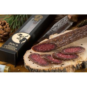 Колбаса из мяса Лося с коньяком в подарочной упаковке,   Деликатес дичь 230 гр.