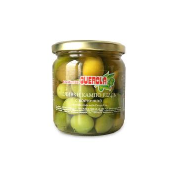 Оливки зеленые Guerola Кампо Реаль с косточкой, 340г.