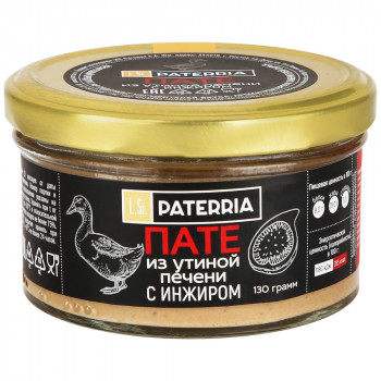 Пате Paterria из утиной печени с инжиром томленным в белом вине, 90 гр
