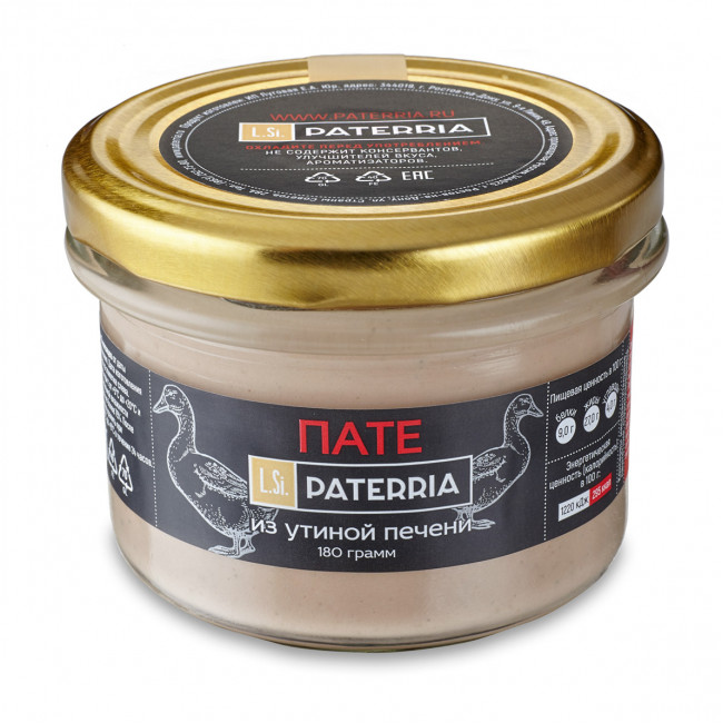 Пате Paterria из утиной печени с портвейном, 90 гр