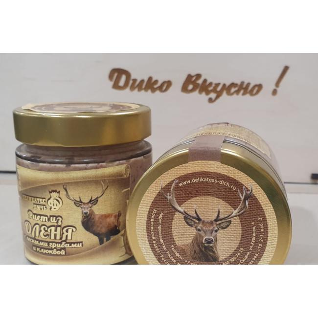 Риет Деликатес дичь из Оленины с лесными грибами и клюквой, 190 гр.