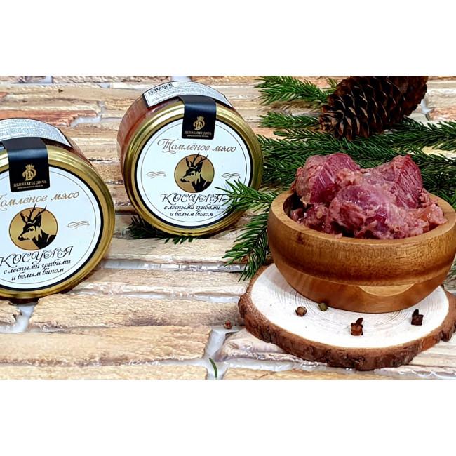 Томленое мясо Косули с лесными грибами и белым вином, 220 гр