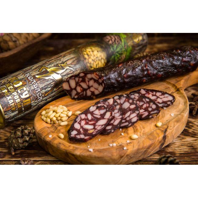 Колбаса  из мяса Косули с кедровыми орехами в подарочной упаковке,   Деликатес дичь 300 гр