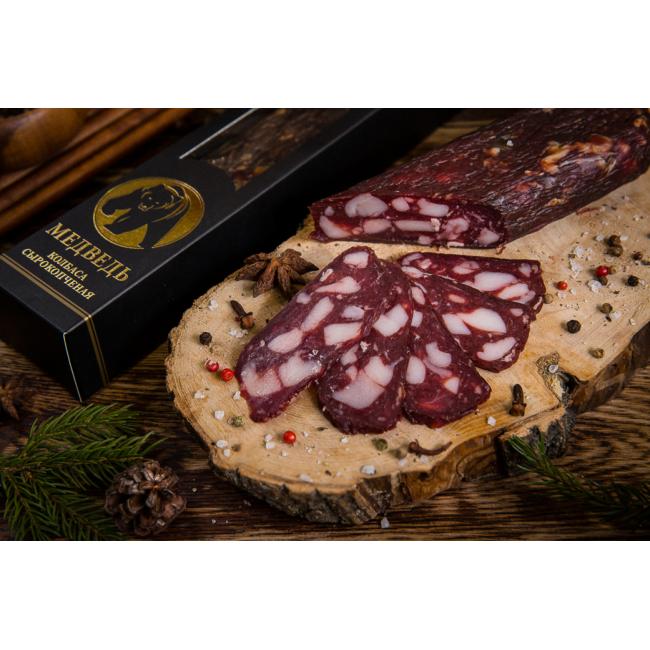 Колбаса Деликатес дичь из мяса Медведя в подарочной упаковке, 230 гр