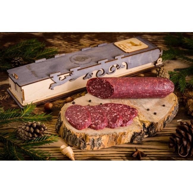 Колбаса из мяса Оленя с сыром дорблю в подарочной упаковке, 230 гр