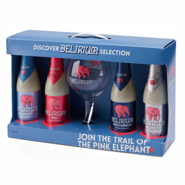 Подарочный набор Delirium Selection gift pack (4 сорта пива + бокал)