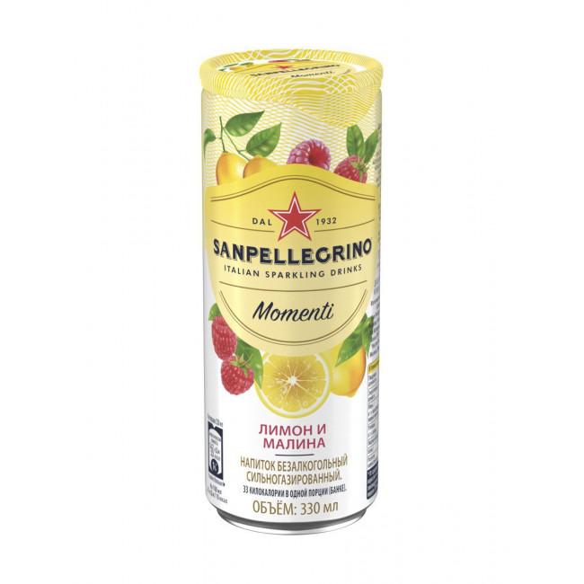 Напиток SanPellegrino Лимон и Малина газированный, 0.33 л ж/б