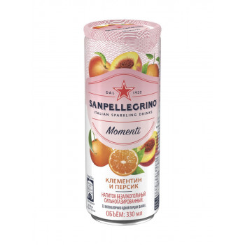 Напиток SanPellegrino Мандарин и Персик газированный, 0.33 л ж/б