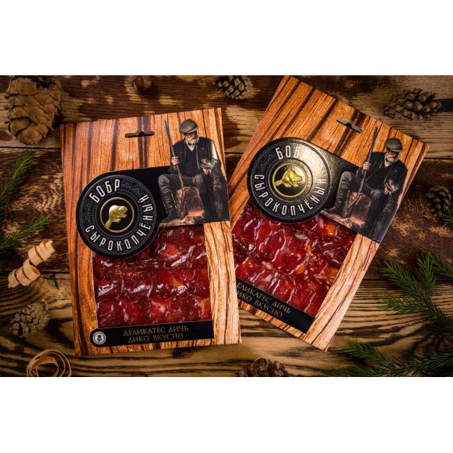 Нарезка Деликатес дичь из мяса Бобра в подарочной упаковке, 100гр