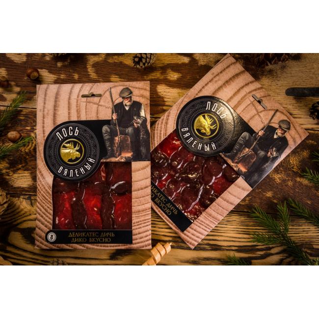 Нарезка из мяса Лося Деликатес дичь в подарочной упаковке, 100гр