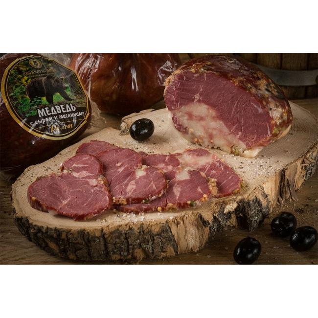 Рулет Деликатес дичь из мяса Медведя с сыром и маслинами, 315 гр
