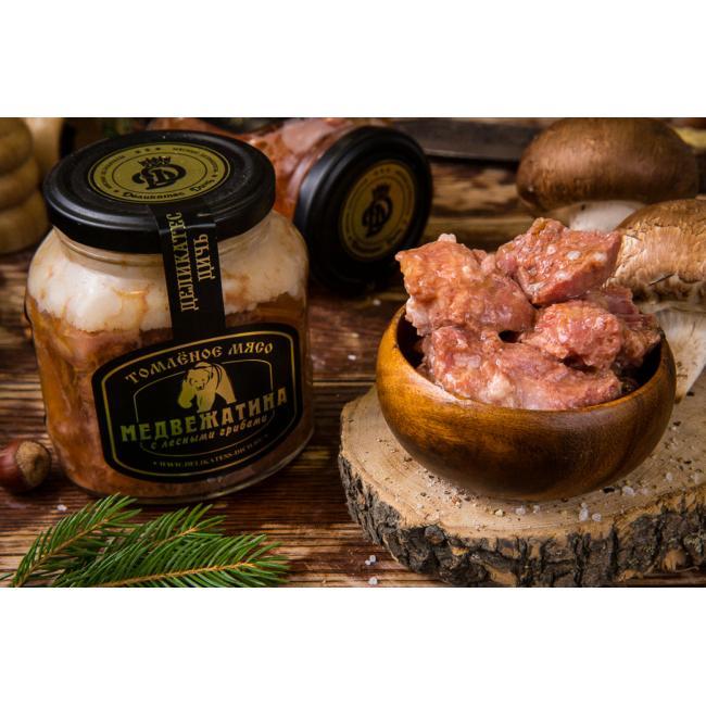 Мясо медведя томленое с лесными грибами Деликатес Дичь, 350 гр