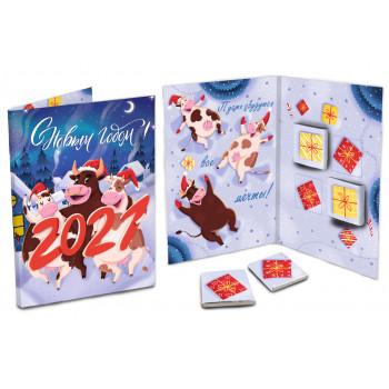 Открытка ChokoCat С Новым Годом, Коровы + 4 шоколадки