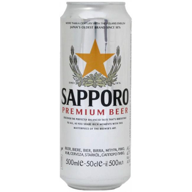 Пиво Sapporo Premium Светлое фильтрованное алк. 4,7%, 0.5 л банка