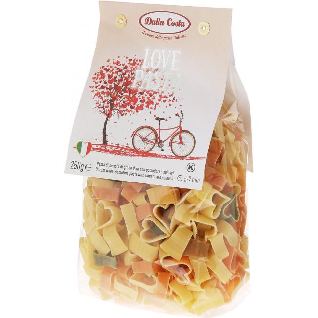 """Макаронные изделия без яиц  со шпинатом и томатами """"Любовь"""" Dalla Costa 250 г"""